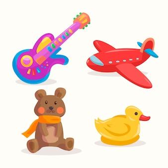 Mão de coleção de brinquedos de natal desenhada