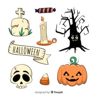 Mão de coleção de elemento de halloween desenhada