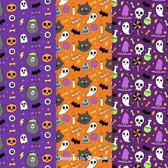 Mão de coleção de padrão de halloween desenhada