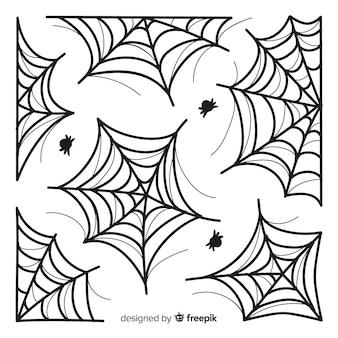Mão de coleção de teia de aranha desenhada