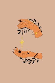 Mão de coleção desenhada vetor de símbolos astrológicos mágicos