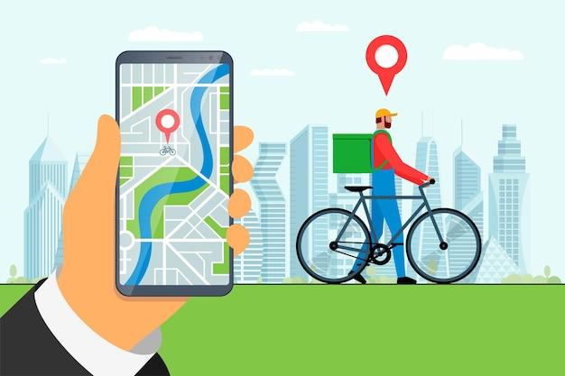 Mão de conceito de aplicativo de serviço de pedidos de entrega de bicicletas expresso segurando smartphone com geotag gps