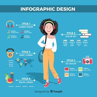 Mão de conceito de infográfico desenhada garota fundo