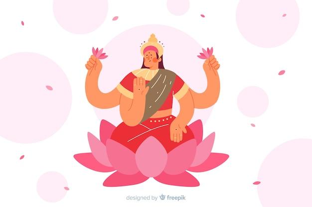Mão de conceito hindu desenhado fundo de diwali