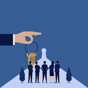 Mão de conceito plana de negócios segurar chaves e equipe ver metáfora da fechadura da decisão.