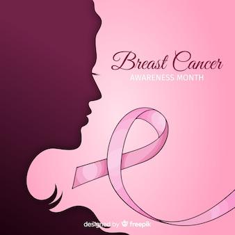 Mão de conscientização de câncer de mama desenhada