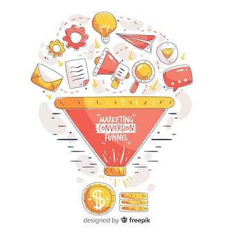 Mão de conversão de marketing desenhado fundo