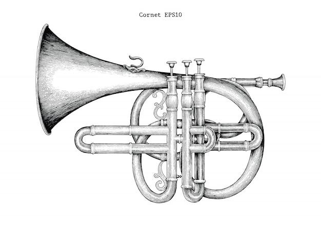 Mão de corneta vintage desenho ilustração de gravura, o instrumento de música clássica