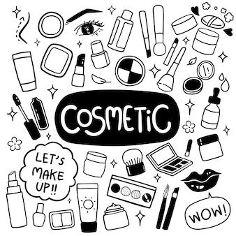 Mão de cosméticos desenhados doodles vector