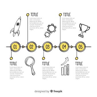 Mão de cronograma infográfico desenhada feita