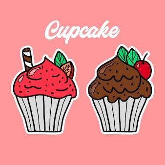 Mão de cupcake doodle desenhada