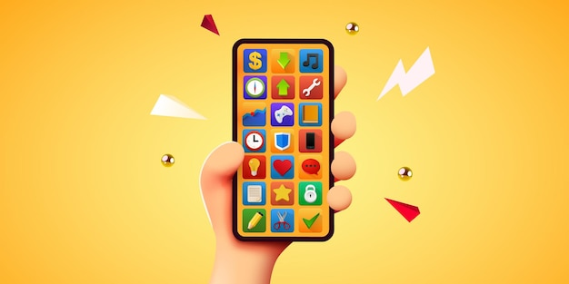 Mão de desenho animado bonito segurando uma maquete moderna de telefone móvel inteligente