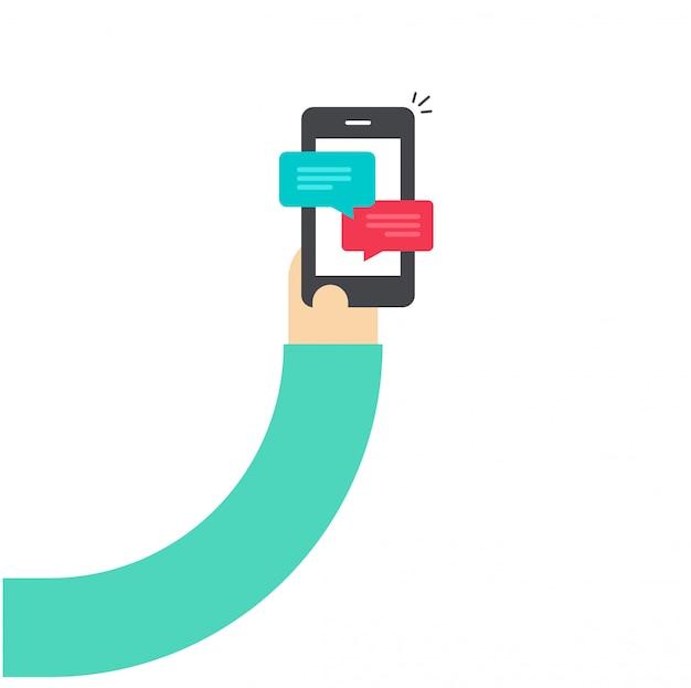 Mão de desenho animado, segurando o smartphone com notificações de bate-papo
