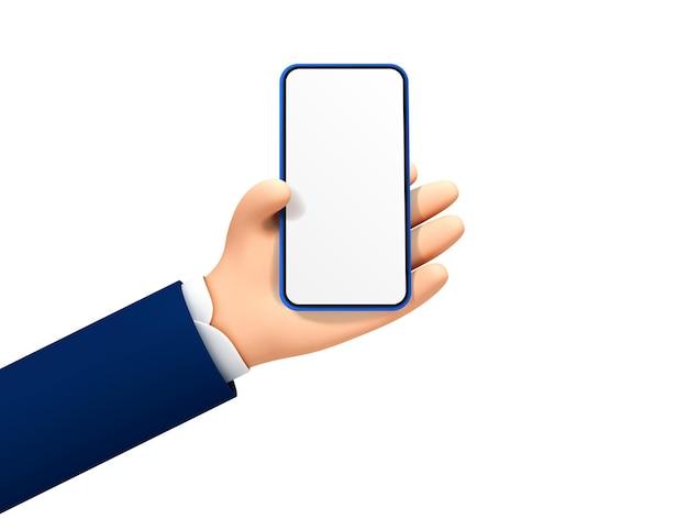 Mão de desenho animado segurando smartphone isolado no fundo branco. ilustração em vetor estilo desenho animado