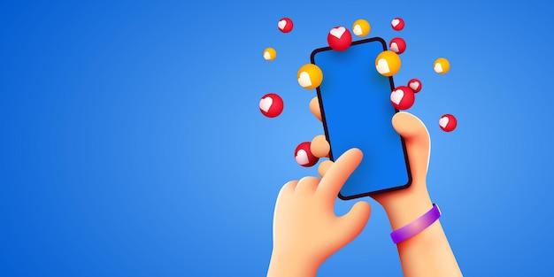 Mão de desenho animado segurando um smartphone móvel com notificações de curtidas em fundo branco redes sociais