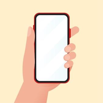 Mão de desenho animado segurando um telefone celular para design de maquete em fundo amarelo claro