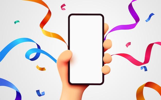 Mão de desenho animado segurando um telefone móvel inteligente com confetes comemorativos voando ao redor do conceito de vencedor
