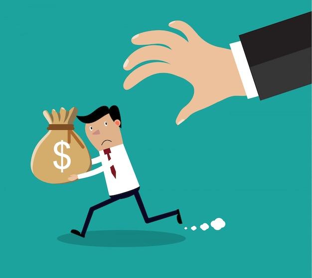 Mão de desenho animado tenta pegar o saco de dinheiro