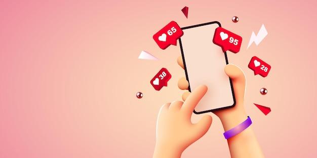 Mão de desenho bonito segurando um smartphone móvel com ícones de notificação de curtidas, mídia social e marketing