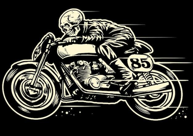 Mão de desenho de caveira montando uma moto vintage
