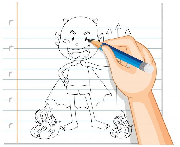 Mão de desenho de contorno dos desenhos animados do diabo