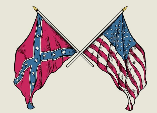 Mão de desenho de cruzar a bandeira da união e a bandeira confederada