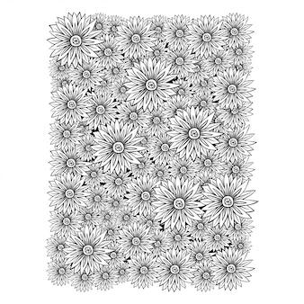 Mão de desenho de flores de água liliel