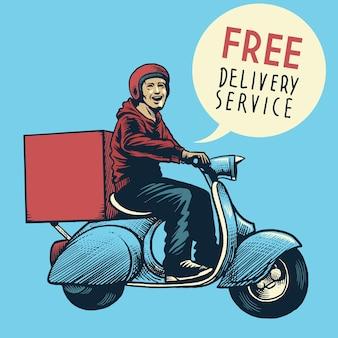 Mão de desenho de homem de serviço de entrega montando uma scooter