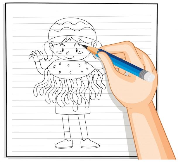 Mão de desenho de menina em contorno de fantasia de água-viva