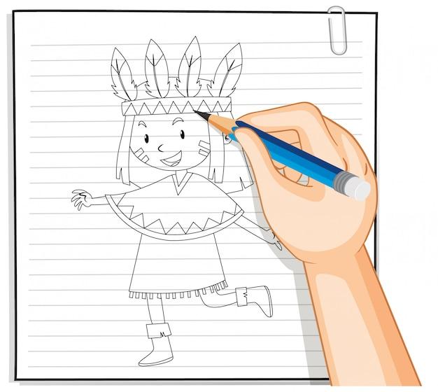 Mão de desenho de menina no contorno do traje nativo americano
