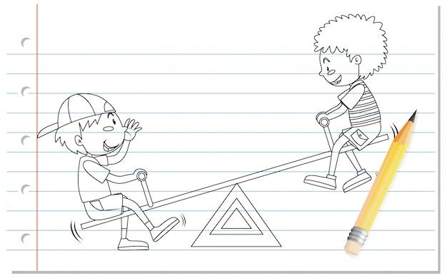 Mão de desenho de menino jogando contorno de gangorra