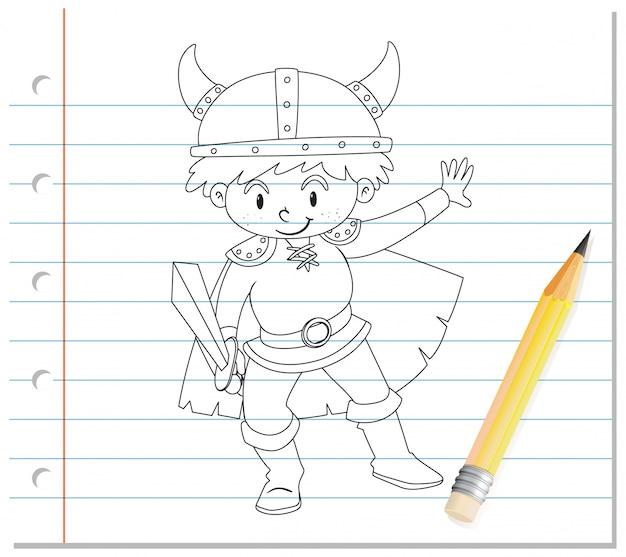 Mão de desenho de menino no esboço de fantasia de cavaleiro