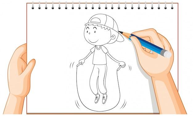Mão de desenho de menino pulando corda contorno