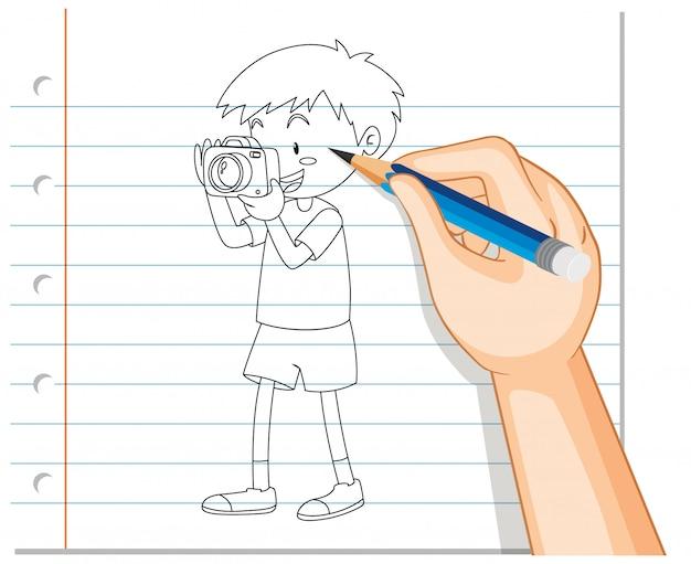 Mão de desenho de menino tirando foto contorno