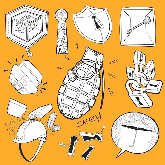 Mão de desenho ilustração conjunto de segurança