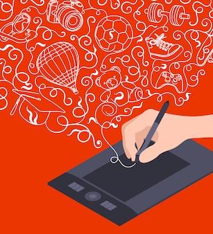 Mão de desenho no tablet gráfico contra o fundo vermelho