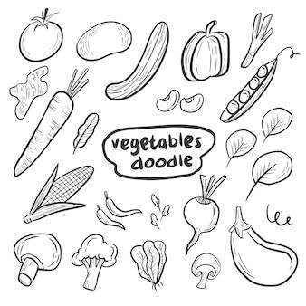Mão de desenhos animados de legumes frescos doodle conjunto de coleta de desenho