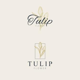 Mão de design minimalista flor tulipa logotipo desenho