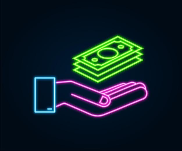 Mão de dinheiro de néon para o projeto de conceito. mão segurando notas de dinheiro verde. design plano.
