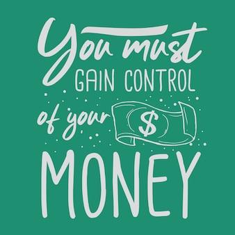 Mão de dinheiro desenhada tipografia citação de design de letras