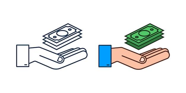 Mão de dinheiro plano para o projeto de conceito. mão segurando notas de dinheiro verde. design plano.