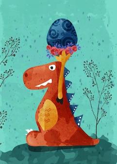 Mão de dinossauro bebê fofo desenhada no estilo de ilustração.