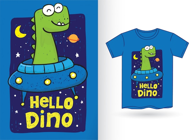 Mão de dinossauro fofo desenhada para camiseta