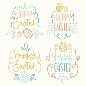 Mão de distintivo de dia de páscoa desenhada com ovos e letras