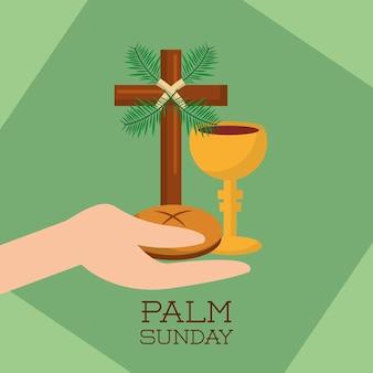Mão de domingo de palma segurando copo de pão jesus cristo