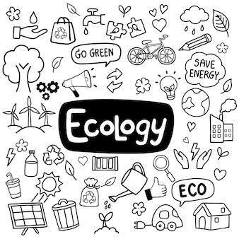 Mão de ecologia desenhada doodles fundo