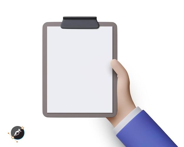 Mão de empresário 3d segura o tablet vazio. ilustração vetorial.