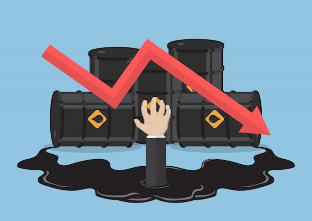 Mão de empresário afogada em óleo de barris