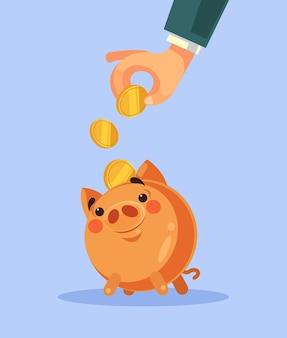 Mão de empresário coloca moeda de ouro no cofrinho ilustração plana dos desenhos animados