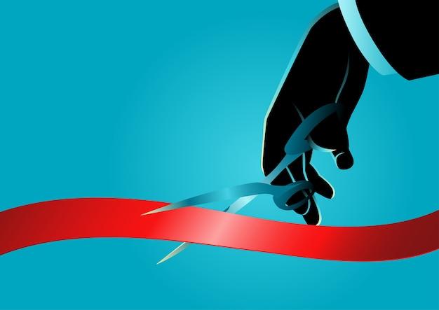 Mão de empresário com tesoura, corte a fita vermelha. novo projeto, conceito de cerimônia de abertura, ilustração